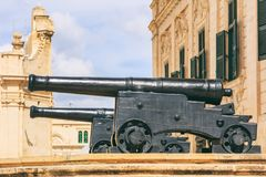 Valletta, Malta. Cannons infront of Prime minister office. In the center of Valletta, side view Stock Image