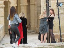 Malta Fashion Week 2019 at Fort St Elmo. VALLETTA, MALTA - CIRCA MAY 2019: Malta Fashion Week 2019 at Fort St Elmo, arrival of participants at the entrance stock photography
