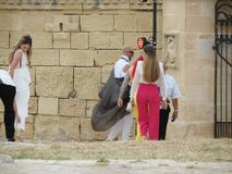 Malta Fashion Week 2019 at Fort St Elmo. VALLETTA, MALTA - CIRCA MAY 2019: Malta Fashion Week 2019 at Fort St Elmo, arrival of participants at the entrance stock image