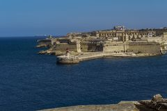 Valletta, Malta Fort Rikasoli bastioned fort day view. Large 17th century fort at the entrance of the Grand Harbour in the capital of Malta Royalty Free Stock Photography