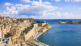 Valletta, Malta. Grand harbor entrance, view from Upper Barrakka Gardens. Valletta, Malta. Grand harbour entrance view from Upper Barrakka Gardens Royalty Free Stock Photography