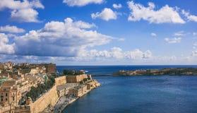 Valletta, Malta. Grand harbor entrance, view from Upper Barrakka Gardens. Valletta, Malta. Grand harbour entrance view from Upper Barrakka Gardens Stock Image