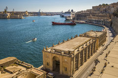 Valletta, Malta - The Grand Harbour of Malta with cruise ships Royalty Free Stock Photos