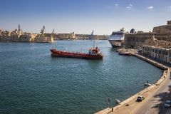 Valletta, Malta - The Grand Harbour of Malta with ships and clea Royalty Free Stock Photography