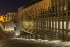 Valletta Malta. Illuminated Steps leading to the gates of Valletta Royalty Free Stock Photography