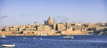 Valletta, Malta, Skyline with the dome of the Carmelite Church and the tower of St Paul`s. Valletta, Malta island. Skyline with the dome of the Carmelite Church Stock Photo