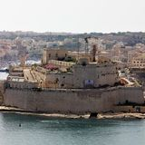 Valletta, Malta, July 2014. Flowering plants on the walls of the fort. royalty free stock images