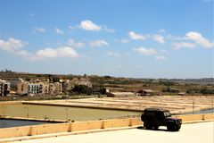 Valletta, Malta, July 2014. View of the historic salt extraction pools. royalty free stock photography