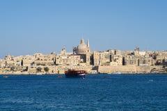 Valletta, Malta Koepel van Roman Catholic Basilica van Onze Dame van Onderstel Carmel Stock Fotografie
