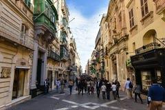 Valletta Malta main street view. Valletta Malta downtown street view, tourists attraction place Stock Image