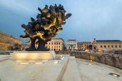 Sculpture in Valletta, Malta at evening. VALLETTA, MALTA - MARCH , 2018: Sculpture illuminated at evening in European Culture Capital for 2018 Valletta,Malta Royalty Free Stock Images