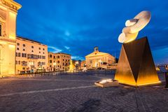 Sculpture in Valletta, Malta at evening. VALLETTA, MALTA - MARCH , 2018: Sculpture illuminated at evening in European Culture Capital for 2018 Valletta,Malta Stock Photos