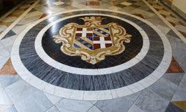 VALLETTA, MALTA - may 5, 2018: fragment photo of the armoury corridor on the main floor of the Grandmaster`s Palace in Valletta. Malta. Floor ornament. Mosaic Royalty Free Stock Image