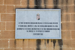 Valletta, Malta - May 9, 2017: Plaque to memorize heroes and martyrs of the 1956 Hungarian Revolution in Upper Barrakka Gardens. Plaque to memorize heroes and Royalty Free Stock Photos