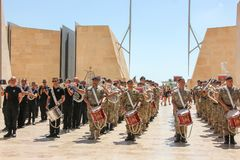 Repetition of police orchestra parade in Valletta cit centre. Valletta, Malta - May 2018: Police orchestra parade in Valletta city centre Royalty Free Stock Photos