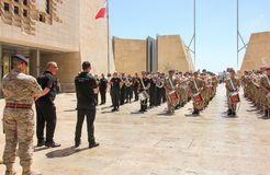 Repetition of police orchestra parade in Valletta cit centre. Valletta, Malta - May 2018: Repetition of police orchestra parade in Valletta cit centre Royalty Free Stock Photography