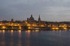 Valletta , Malta. Valletta at night illuminated, Malta stock photo