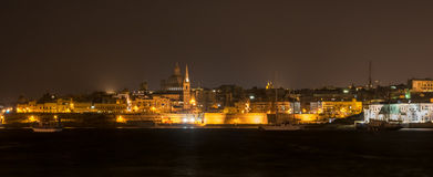 Valletta Malta At Night Royalty Free Stock Photos