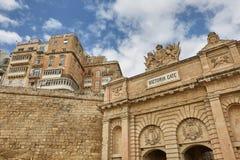 The Victoria Gate in La Valletta, the capital of Malta. VALLETTA, MALTA - OCTOBER 30 , 2017: The Victoria Gate and Grand Harbour Hotel in La Valletta, the Stock Image