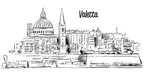 Valletta, Malta. Panorama Waterfront Outline Vector Sketch Royalty Free Stock Photos