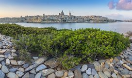 Valletta, Malta - Panoramic skyline view of the ancient city of Royalty Free Stock Image