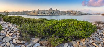 Valletta, Malta - Panoramic skyline view of the ancient city of Valletta with St.Pau`s Cathedral Stock Photography