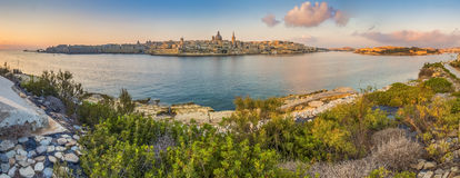 Valletta, Malta - Panoramic skyline view of the ancient city of Valletta Royalty Free Stock Image