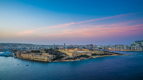 Valletta, Malta - Panoramic skyline view of Manoel Island. Valletta, Malta - Panoramic skyline view from the top of Valletta, the capital city of malta with Royalty Free Stock Photos