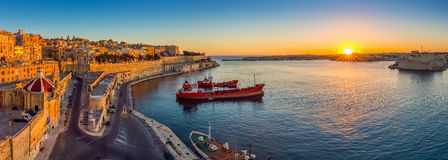 Valletta, Malta - Panoramic skyline view of Valletta and the Grand Harbor Stock Photos
