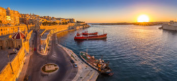 Valletta, Malta - Panoramic skyline view of Valletta and the Grand Harbor Stock Photography
