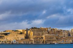Valletta, Malta - Panoramic skyline view of Valletta with Grand Harbor Royalty Free Stock Photography
