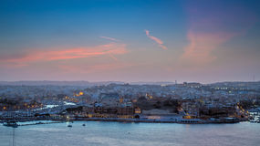 Valletta, Malta - Panoramic skyline view from Valletta at sunset Royalty Free Stock Photo