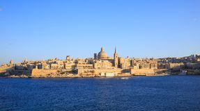 Valletta, Malta. Panoramic view of the historic island and the dome of Carmelite Church and St Paul`s tower. Stock Photography