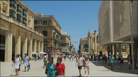 Valletta, Malta The Parliament House. Exterior day view of the new Parliament in Republic Street after City Gate entrance stock video footage