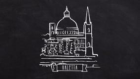 Valletta, Malta, self drawing lines stock video
