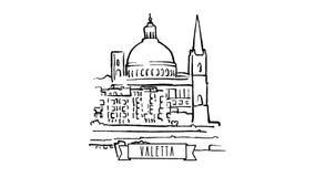 Valletta, Malta, self drawing lines on White stock video footage