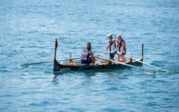 VALLETTA, MALTA - SEPTEMBER 8: traditional boats regatta in Valletta in Mediterranean sea on Sep 8, 2013. Popular regatta in Malta Stock Image