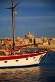 Valletta Malta with Ship on Silema Bay. Stock Photo