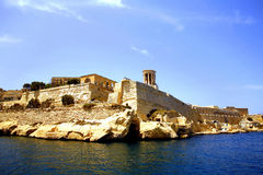 Valletta, Malta. The siege bell and the Barracca gardens from the grand harbor at Malta Royalty Free Stock Images