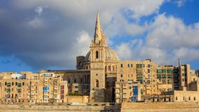 Valletta, Malta, Skyline  in the afternoon with the dome of the Carmelite Church and the tower of St Paul`s. Valletta, Malta, Skyline in the afternoon with the Royalty Free Stock Photos