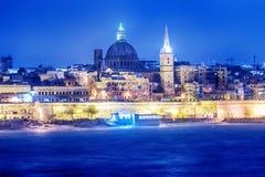 Valletta, Malta: skyline from Marsans Harbour at night. Valletta, Malta: beautiful skyline from Marsans Harbour at night Royalty Free Stock Photos