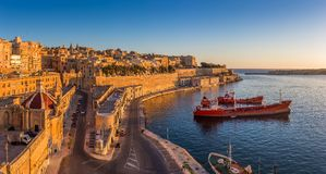 Valletta, Malta - Skyline view of Valletta and the Grand Harbor Stock Image
