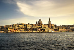 Valletta, Malta. Skyline and waterfront of Valletta, the capital city of the island Malta Stock Images