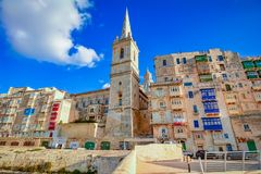 Valletta, Malta - St.Paul`s Anglican tower cathedral Royalty Free Stock Images