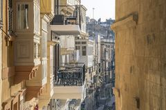 Valletta, Malta - Traditional houses and balconies of Valletta. At early in the morning Stock Image