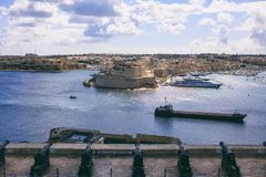 Valletta, Malta. Upper Barrakka Gardens and Saluting Battery. View of Grand harbor. Valletta, Malta. Grand harbour view from Upper Barrakka Gardens over saluting Stock Photography
