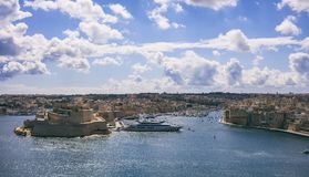 Valletta, Malta. View of Grand harbor from Upper Barrakka Gardens. Valletta, Malta. Grand harbour, luxury yachts marina view from Upper Barrakka Gardens Royalty Free Stock Image