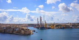 Valletta, Malta. View of Grand harbor from Upper Barrakka Gardens. Valletta, Malta. Grand harbour view from Upper Barrakka Gardens Royalty Free Stock Photo