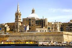 Valletta, Malta. A view from Marsamxett Harbor of St. Salvatore Bastion and the city of Valletta, Malta Stock Image