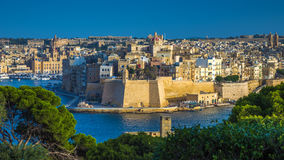 Valletta, Malta - The view from Valletta with trees and Island of Senglea. Valletta, Malta - The view from Valletta with trees, Island of Senglea, Gardjola Stock Images
